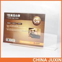 Customized Clear Acrylic Slant Back Sign Holder , Acrylic Menu Rack , Acrylic Menu Display