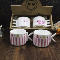 Creative cartoon couple Lovely letter handle ceramic cup with gift box