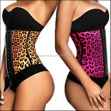 Latex Rubber Waist Training Cincher Under Bust Corset Body Shaper leopard Colors Sport - Pink yellow animal slim corset