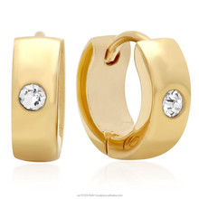 GOLD PLATED STAINLESS STEEL HUGGIE EARRINGS WITH SIMULATED DIAMOND 18 karat gold and two tone hoop earrings