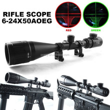 Brand New 6-24x50 AOEG Red and Green Illuminated Mil Dot Reticle Rifle Scope