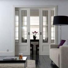 White Double Glass Pocket Wood Door Design