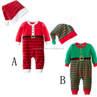 Children clothes wholesale H252 New style baby girls and boys Christmas clothing cotton long sleeve romper +cap 2pices/set