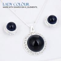 U0094 New Big Round Black Opal sets zinc alloy plated 18K Champagne gold rhodium with cryrstal resin fashion jewelry