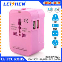 LEISHEN 2015 promotional gift Popular usb universal Travel Adaptor Plug for gift companies