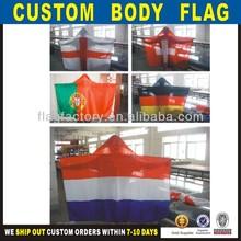 2014 caliente venta de poliéster impresos personalizados bandera del cuerpo del cabo