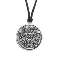 Tetragrammaton Pentagram Pagan Wiccan Charms Pendant Oxidized Necklace