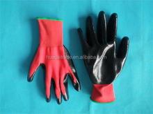 13 gauge 13 gauge knitted nylon coated black nitrile gloves/working nitrile gloves/safety working gloves