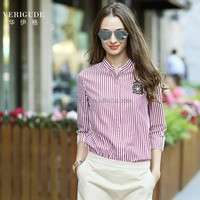 Veri Gude 2015 spring latest women shirts fashion striped slim stand collar ladies long sleeve blouses