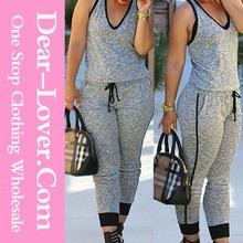 Moda gris lazo de la cintura con cuello en V sin mangas del mono ecuestre fabricantes de ropa