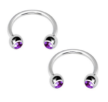 Stainless Steel 16G Gem Horseshoe Circular Barbell wth Jeweled Ball