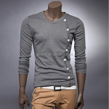 Fashion Style V-Neck Button Embellished Long Sleeves Cotton T-shirt For Men