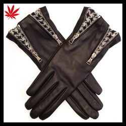 Double Zip and Houndstooth Black Leather Gloves for women