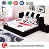 Beautiful home bedroom furniture cloth double bed children black and white bed