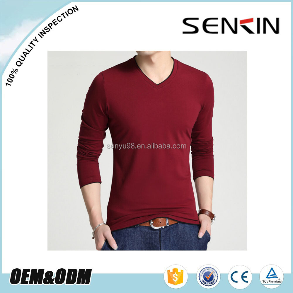 Oem 50 Cotton 50 Polyester Mens Long Sleeve Grey T Shirt