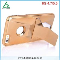 New Arrival For iPhone 6 Stand Solid Metal Case, Mobile Hard Aluminum Case For iPhone 6, For iPhone 6 Electroplated Metal Case