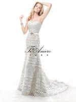 2015 Picture of latest Gowng Designs Wedding Dresses/Appliqued Sequins Strapless Girls Wedding Dresses France/Paris