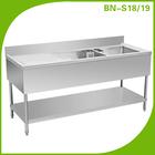 Cosbao dupla pia bancada com prateleira em/cozinha pia de açoinoxidável mesa de trabalho bn-s18, bn-s19