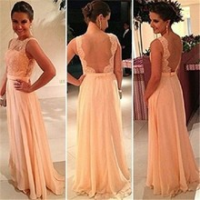 Dresses Online 2015 Women Clothing Sexy Sleeveless Backless Lace Chiffon Evening Dress