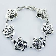 Electroforming Hallmarked 925 Silver Bracelet Rose Flowers