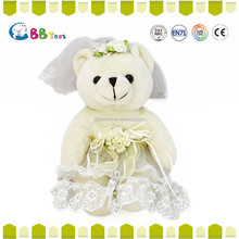 2015 Latest wholesale custom plush toy,Bear wedding dress