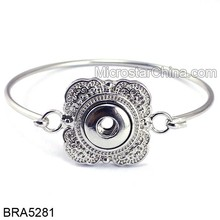 Silvery Vintage Flower Charm Alloy Cuff Bangle For Charms Snap Button DIY