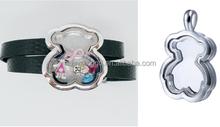 China manufacturer wholesale fashion little bear jewelry set metal square shape living memory floating locket jewelry set