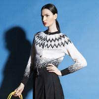 latest new design ladies wool cashmere icelandic pattern cardigan sweaters women