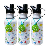 Full color printing 500ml stainless steel water bottle with Rubber Coin