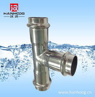 Water pipe compression connector stainless steel press fitting tee