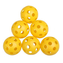 20pcs/lot Yellow Plastic Whiffle Airflow Durable Hollow Golf Practice Training Sports Balls