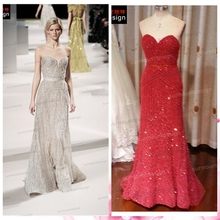 Real Picture Sweetheart Full Beaded Sequins Long Red Alibaba China Celebrity Dresses