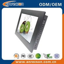 Aluminum bezel industrial touch screen monitor 12 inch with VGA DVI