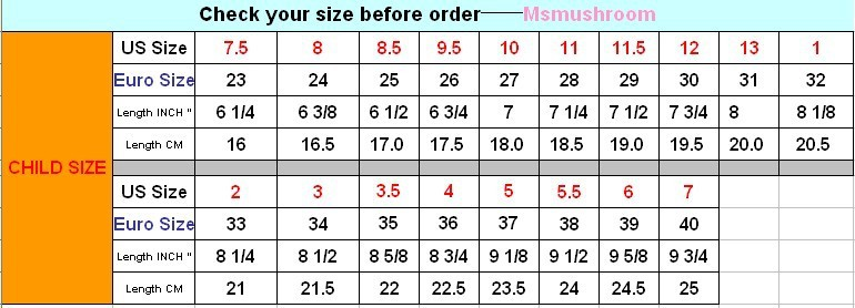 European Shoe Size  In Cm