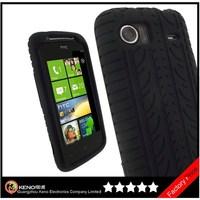 Keno Tire Tread Design Black Silicone Skin Case Cover for HTC Mozart Windows Smartphone Cell Phone