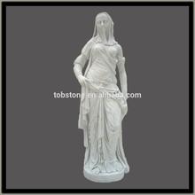 De tamaño natural estatua de mármol blanco para el jardín