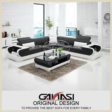 Sofá de la esquina de diseño, muebles de cuero de miami, en forma de l sofá de cuero negro