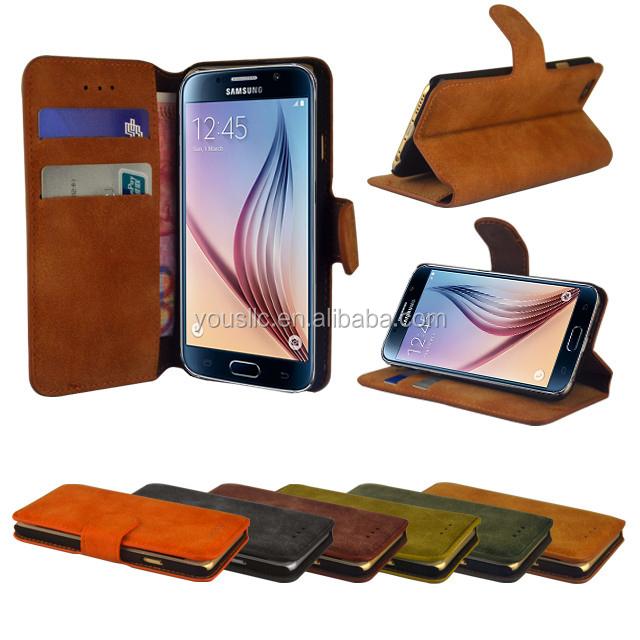 2015 OEM moins cher à clapet deux téléphones mobiles étui en cuir pour galaxy s6