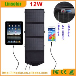 12w solar panel recharge bag, outdoor cell phone charger solar bag