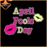 April Fools Day press Iron on rhinestone crystals hotfix transfers for tshirt