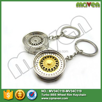 Wholesale Maven New Arrival Car Parts Turbo Tuning BBS Wheel Rim Keychain Key Ring Key Chain Gold/Silver Colors