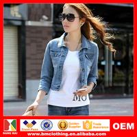 2015 Western Style Casual Denim Jacket for Women,Hot Three-Quarter Sleeve Slim Ladies Jean Jacket