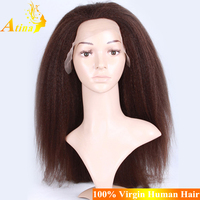Wholesale 7A Russian kinky Straight Full Lace Wig Russian Yaki Hair Full Lace Wig Russian Human Hair Lace Wig
