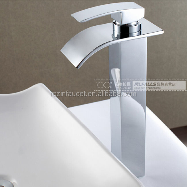 Wholesale polished chrome countertop waterfall basin sink mixer faucet one handle hot and cold for Polished chrome bathroom countertop accessories