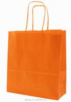 Orange color folded shopping paper bag for garment shopping