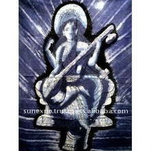 "Indian Goddess Saraswati Batik Tapestry Cotton Fabric Wall Decor Hanging 44"" X 32"""