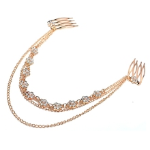 Jewelry trade explosion models in Europe and America the beautiful flowers diamond tassel multilayer fashion simple hair accesso