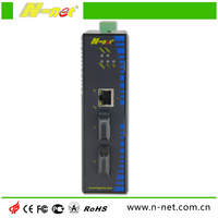 DIN Rail 2 fiber port 1rj45 industrial media converter