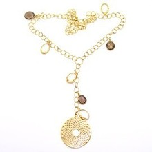 Multi 925 Sterling Silver Necklace With Gold Polish