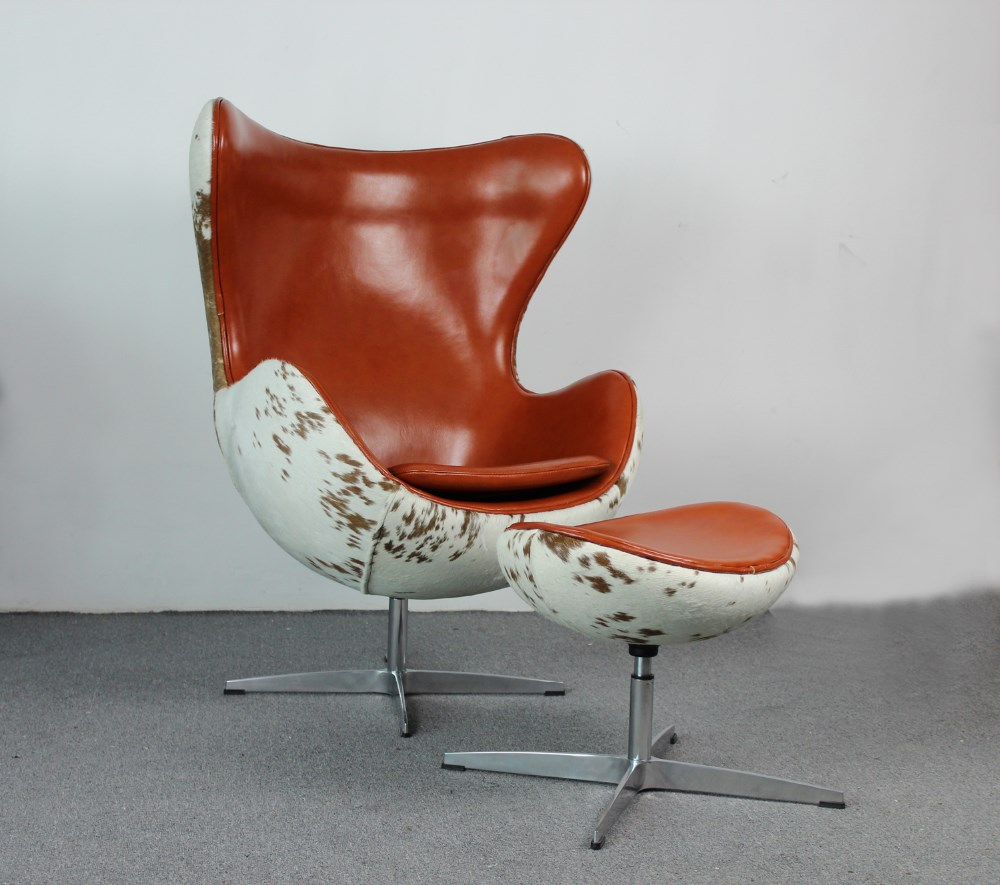 Replica arne jacobsen cow hide egg chair mkf37lc buy for Arne jacobsen stehlampe replica